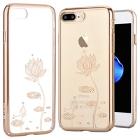 DEVIA Case For IPhone 8 7 Plus Cover Crystals From Swarovski Diamond Plating Hard Floral Flower