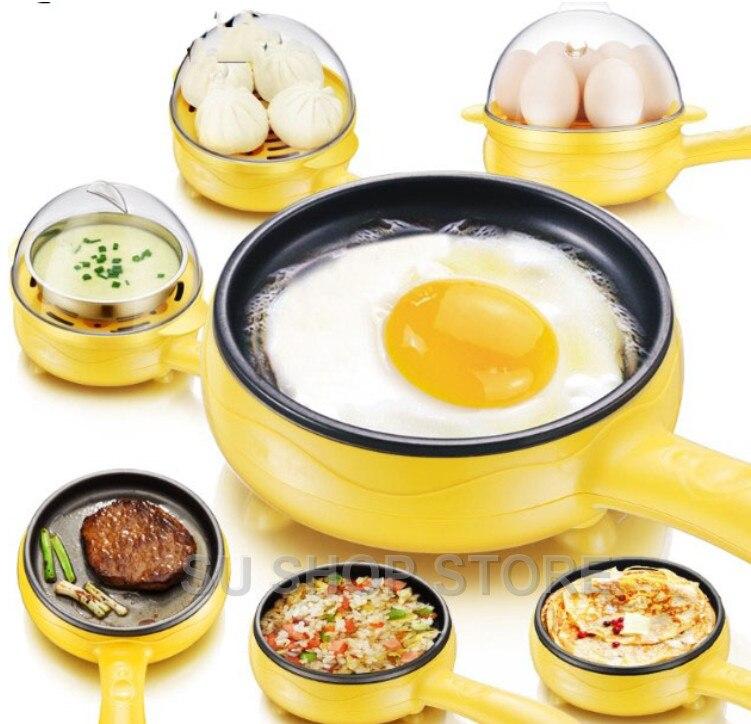Multifunzionale domestico mini uovo frittata Pancake Elettrica Fritto Bistecca Padella Antiaderente uova Sode caldaia a vapore Spegnimento