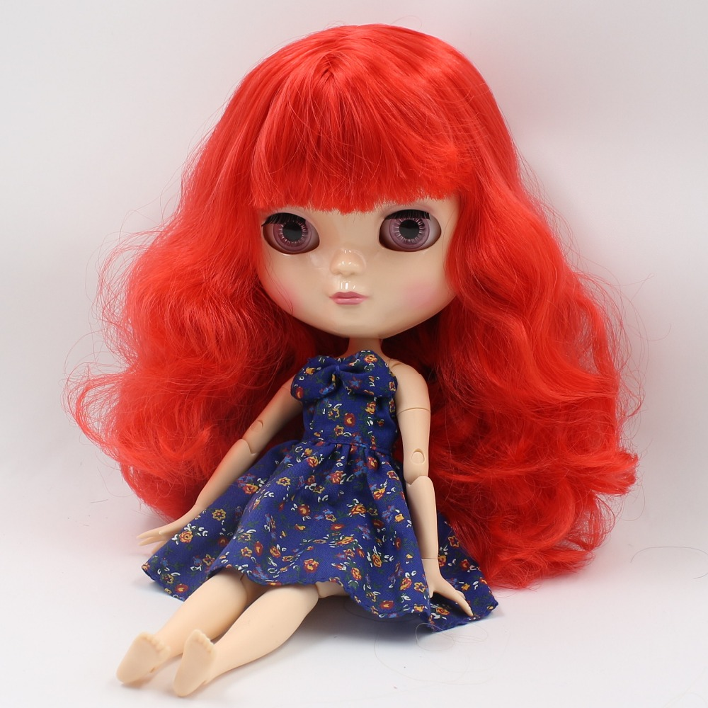 Free shipping blyth doll icy licca body BL1061 red wavy hair natural skin joint azone body small chest 1/6 30cm gift toy цена и фото