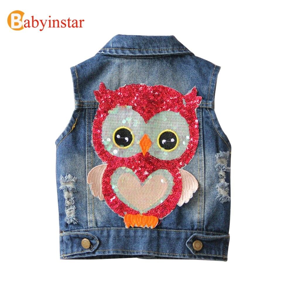 Babyinstar 2018 Baby Mädchen Weste mit Pailletten Mode Eule Muster kinder Mantel Oberbekleidung Jungen Denim Jacke Kinder Weste Tops