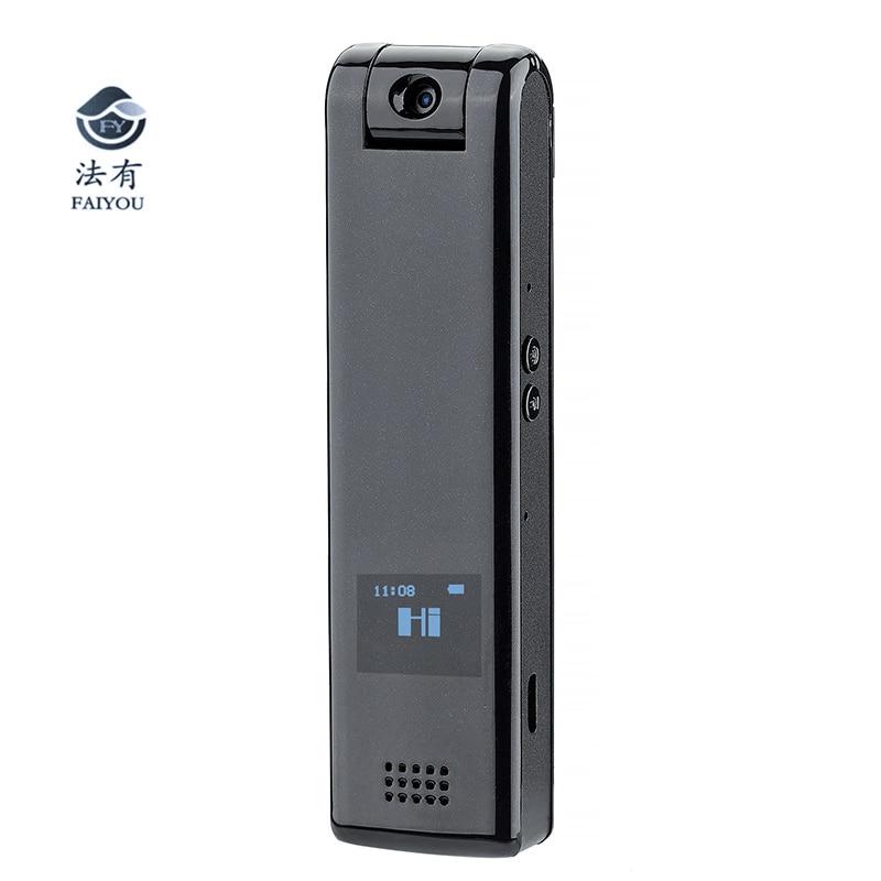 HD 1080 P policía cuerpo solapa desgastada cámara de vídeo pluma Control de voz grabación Mini videocámara con pantalla OLED externa