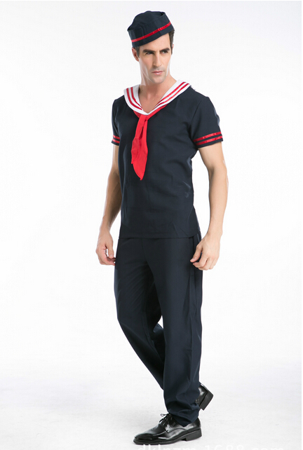 2017 navy uniform man white navy costume halloween costume for man sailors cospaly fancy party dresse - Cheap Halloween Dresses