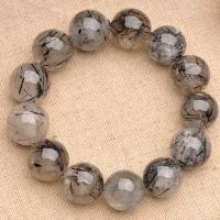 JoursNeige Natural Fidelity Black Quartz Rutilated Bracelet 12mm Beads Crystal Bracelets For Men Women Jade Jewelry