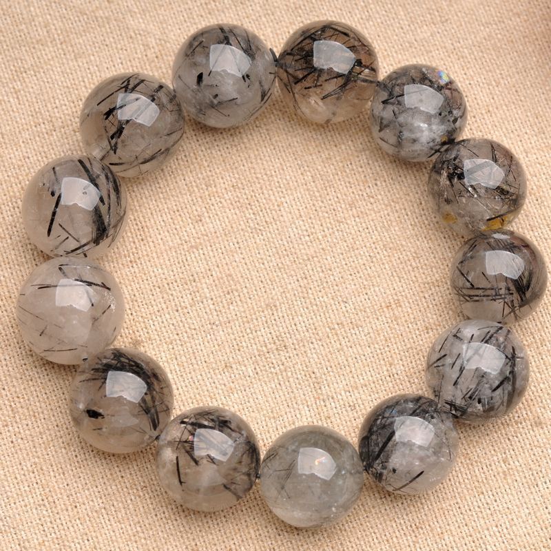 JoursNeige Natural Fidelity Black Quartz Rutilated Bracelet 12mm Beads Crystal Bracelets for Men Women Bracelet Jewelry