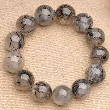 JoursNeige Natural Fidelity Black Quartz Rutilated Bracelet 12mm Beads Crystal Bracelets for Men Women Bracelet Jewelry - DISCOUNT ITEM  10% OFF All Category