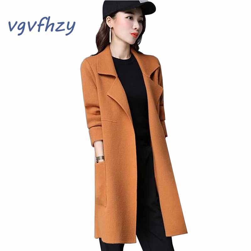 Femmes chandails 2017 mode long manteau femmes nouveau automne chandails solide couleur élégante tricoté Cardigan hiver épais lâche chandails