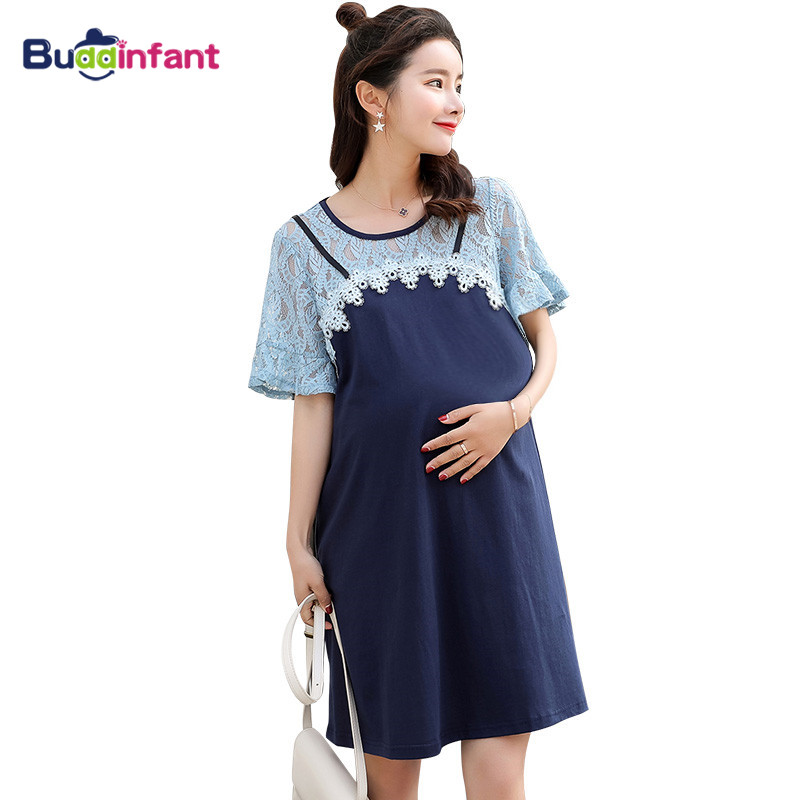 Detail Feedback Questions about Maternity Elegant Dress Lace Patchwork Cute  Pregnant Clothes for Young Women Lady Office Dresses Loose Plus Size  Clothing ... 6a8cb13c0d66