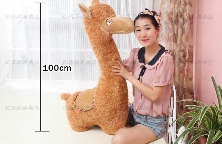 Grand joli jouet en peluche alpaga poupée en alpaga créative nouveau mignon oreiller en alpaga jouet cadeau environ 100x45 cm