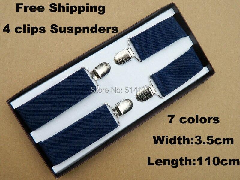 Men's Braces 4 Clips Elastic Stripe Adjustable Suspenders GIft Box Adult Braces 7 Colors High Quality Width 3.5cm Length:110cm