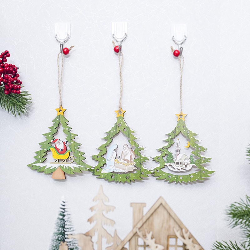 Christmas Decorations In Shopping Malls: Christmas Tree Shape Wooden Pendants Ornaments Home