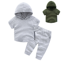 2019 Casual Toddler Baby Kids Boys Clothes Set T-shirt Love You Gesture Cute Tops + Pants Outfits Sets For toddler boy clothes