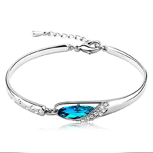 ANGRLY Blue Love Crystal Bracelets Silver Sapphire Ocean Design Valentines Day Mothers Day Female Sex Party Gift Decorate Girl