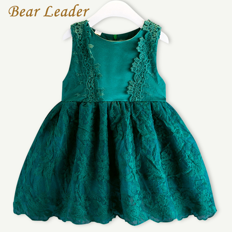 Bear Leader Girls Dress 2017 New Brand Princess Dresses Summer Style Sleeveless Lace Dress Children Clothing 3-7Y Dresses bear leader girls dress 2016 new summer style party dress stella the swallow embroidered sleeveless dress girls princess dress