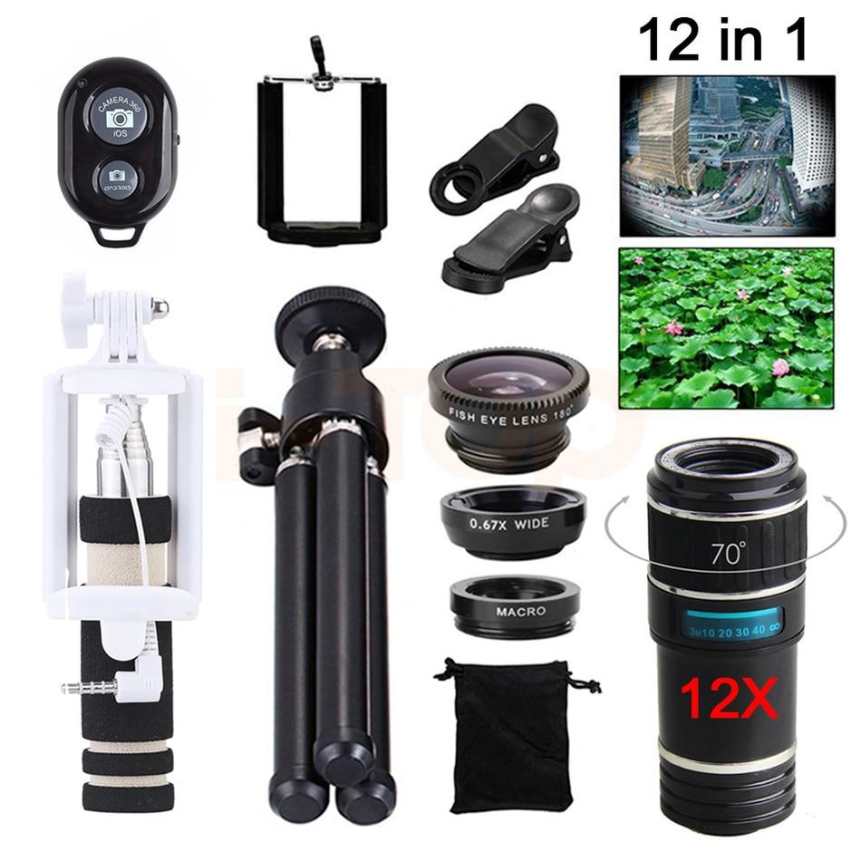 imágenes para Nueva 12X Zoom Teleobjetivo Telescopio de la Lente de ojo de Pez Gran Angular macro lentes de microscopio del teléfono celular con selfie stick clips trípode