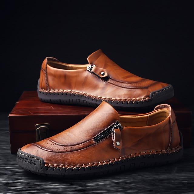 2019 ฤดูใบไม้ผลิรองเท้าหนังผู้ชายคุณภาพ handmade Loafers vintage รองเท้าแตะลื่นยางรองเท้าซิปเปิด hombre
