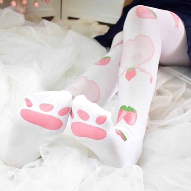 New Cute Rabbit Print Pantyhose Cartoon Cosplay White Velvet Socks Tights Autumn