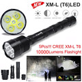 High Quality Tactical 10000 Lumen 5 x XML T6 LED Flashlight Torch Light 5 Modes 18650 Hunting