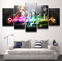 Modern Pictures HD Printed Animation Poster For Living Room Decor 5 Piece Sword Art Online Characters