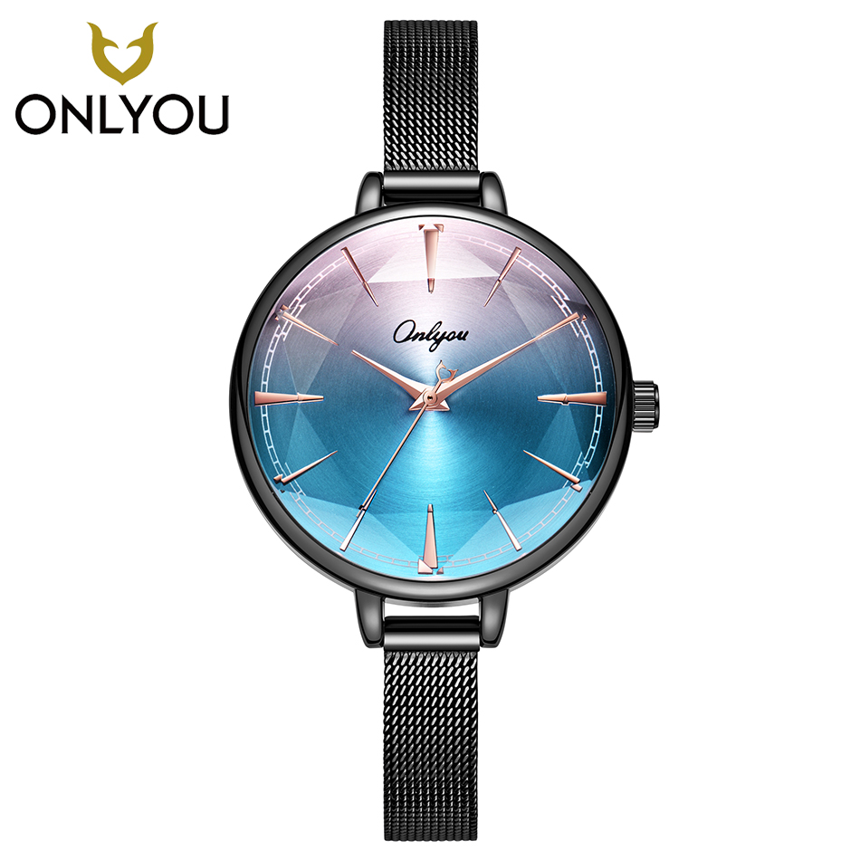 ONLYOU Colorful Gradient Women Watch Fashion Mesh Steel Watchband Rhombus Surface Quartz Wristwatch Ladies Luxury Female Clock yagexing 5054 female diamond quartz chain watch steel watchband