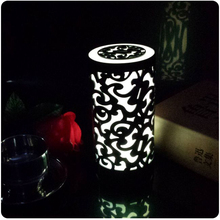 Modern flora design 7 color change switch button battery powered illuminated LED Table Lighting Free shipping
