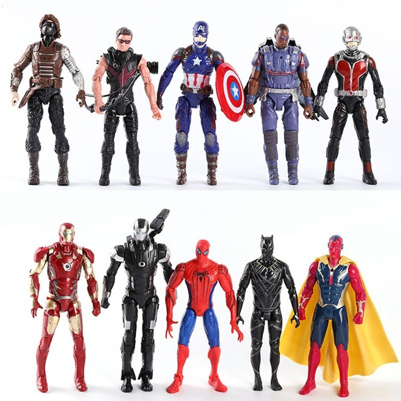 цена на Marvel The Avenger Super Hero Captain America Spiderman Ant-man Hawkeye PVC Action Figure Toys Movie Doll 16CM Joint Can Movable