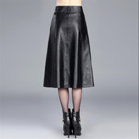 Patchwok Women Autumn And Winter Pu Skirt Oversized Female Fashion A Line Skirts Saia Longa Female Winter Leather Skirts A2777