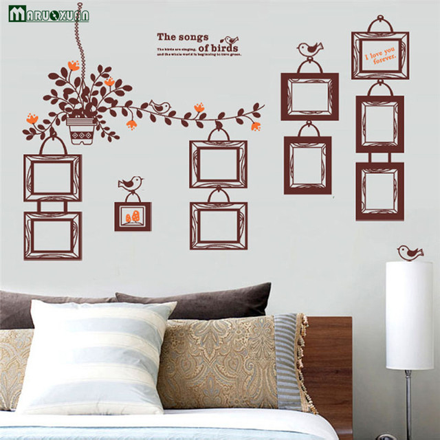 Maruoxuan Brown Picture Photo Frame Wall Stickers Living Room Sofa
