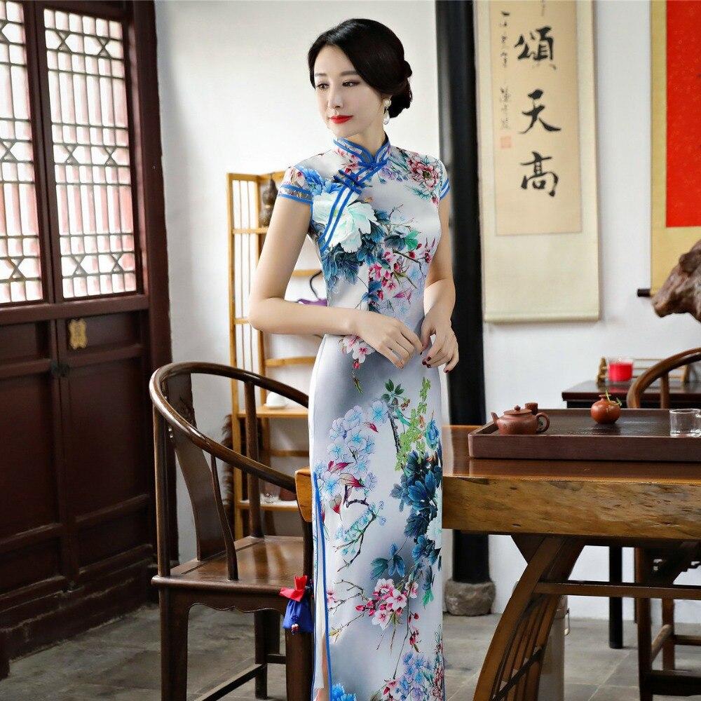 Ky83172 Longue Fleur M Élégant Femmes Imprimer Nouvelle Robe Mince Arrivée Chinois Col Cheongsam 3xl Multi Mandarin Traditionnels Nouveauté Qipao YbEH2IW9De