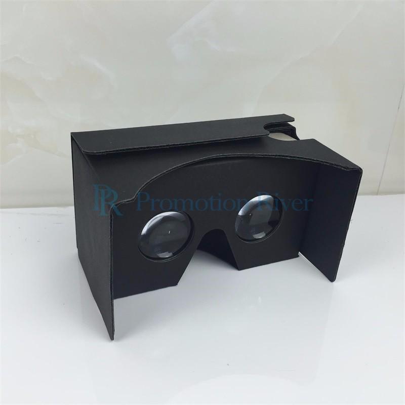 Event Supplies Logo Custom Black Google Cardboard V 2.0 Custom printing Virtual Reality Headset VR Viewer for up to 6 inch phone 6