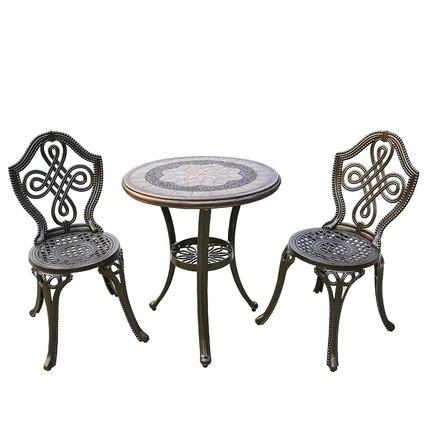 Открытый балкон литой алюминиевой кованого железа стол и стул набор сад во внутреннем дворике для отдыха простые Алюминиевые стол и стул