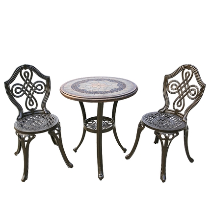 Outdoor balcony cast aluminum wrought iron table and chair set courtyard garden leisure simple aluminum table and chair