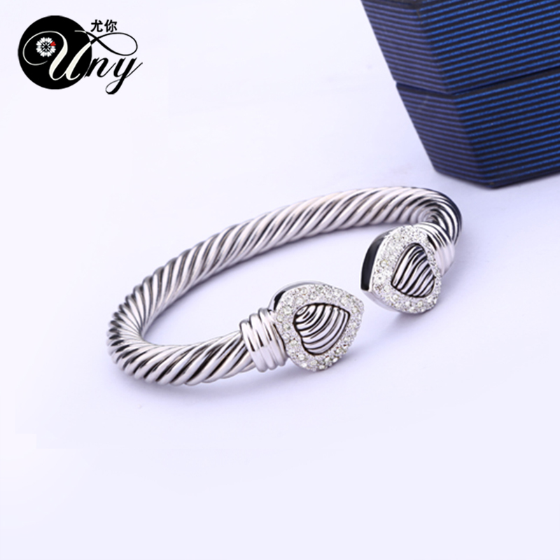 UNY Bangle Love Heart Twisted Wire Wire ձեռնաշղթա - Նորաձև զարդեր - Լուսանկար 4