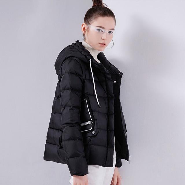 Toyouth/короткие пуховые пальто с большими карманами, 80% белый пуховик на утином пуху, женские парки с капюшоном, зимние теплые пуховики с буквенным принтом