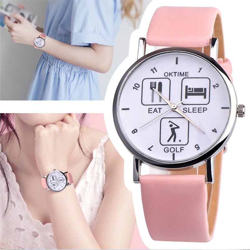 2018 New Fashion 1pc Eat Sleep Golf Design Wristwatch Black and White image part of the Eat Sleep Range Unusual Gift Watches