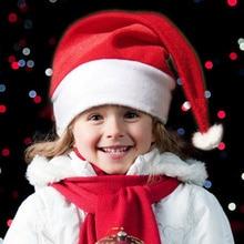 цена на 20PCS/Lot Adult Kids Christmas Hat Navidad Cap Christmas Party Santa Hats Red And White Cap Christmas Hat For Santa Claus