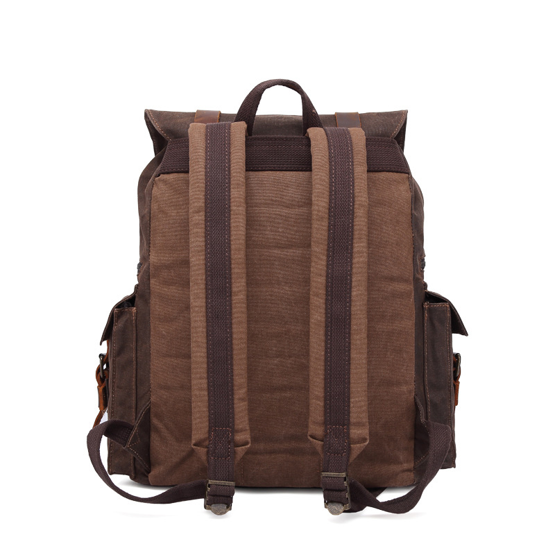 CHARAS brand high quality canvas backpack men women Oil wax canvas crazy horse leather Outdoor travel waterproof Shoulder bag in Backpacks from Luggage Bags