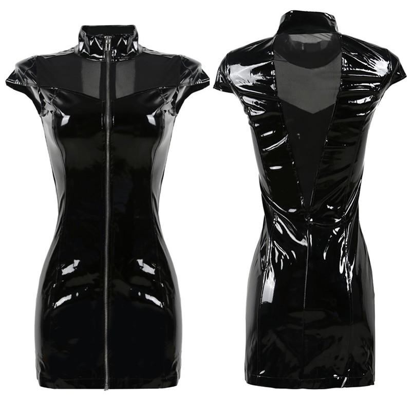 2018 New Black Vinyl PVC Dress Gothic Summer Style Corset Mesh Patchwork Faux Leather Punk Fetish Zipper Dresses Plus Size S-XXL