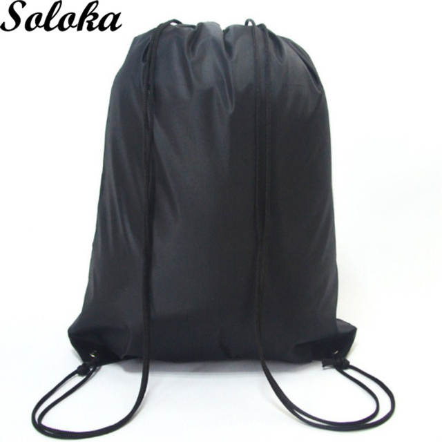 Us 1 31 25 Off 1pc School Drawstring Book Bag Shoe Backpack Travel Sport Portable Uni Polyester Candy Color Sack S In