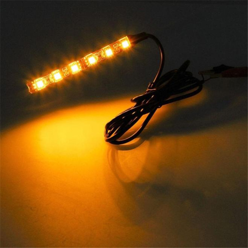 New Arrival 2x Mini Strip Black led motorcycle Turn signal Universal Amber lights Strip 6LED