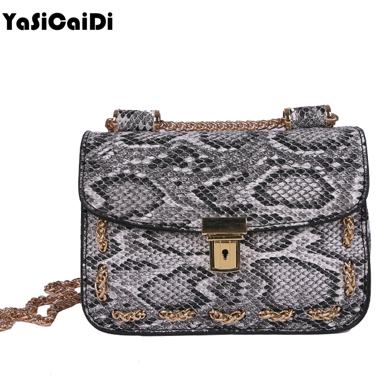 YASICAIDI High Quality Snake Women Messenger Bag Designer Fashion PU Leather Lady Crossbody Bag Serpentine Chain Flap Shoulder yuanyu 2018 new hot free shipping real python skin snake skin color women handbag elegant color serpentine fashion leather bag