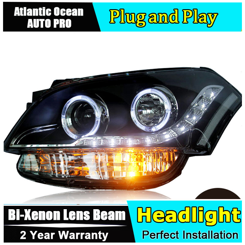Car Styling For KIA SOUL Headlights 2009-2012 SOUL LED Headlight Automobile angel eye led drl HID KIT Bi-Xenon Lens low beam headlight for kia k2 rio 2015 including angel eye demon eye drl turn light projector lens hid high low beam assembly