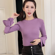 shintimes Thin Womens Pullover New Arrival Ladies Flare Sleeve Sweater Women 2019 Autumn White Knitted Office Lady Pull Femme