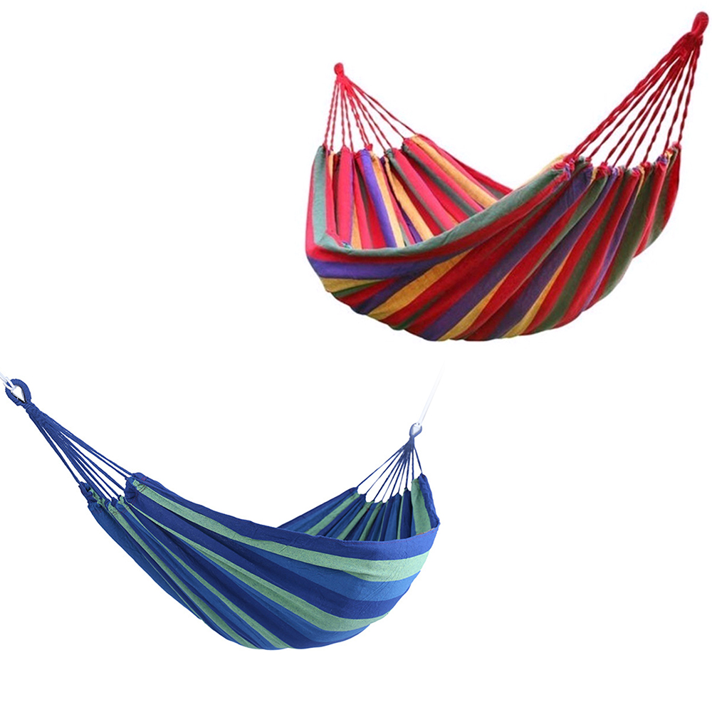 Image 5 - Portable Hammock Outdoor Hammock Garden Sports Home Travel Camping Swing Canvas Stripe Hang Bed Hammock Red Blue 280 x 80cm Tent-in Tents from Sports & Entertainment