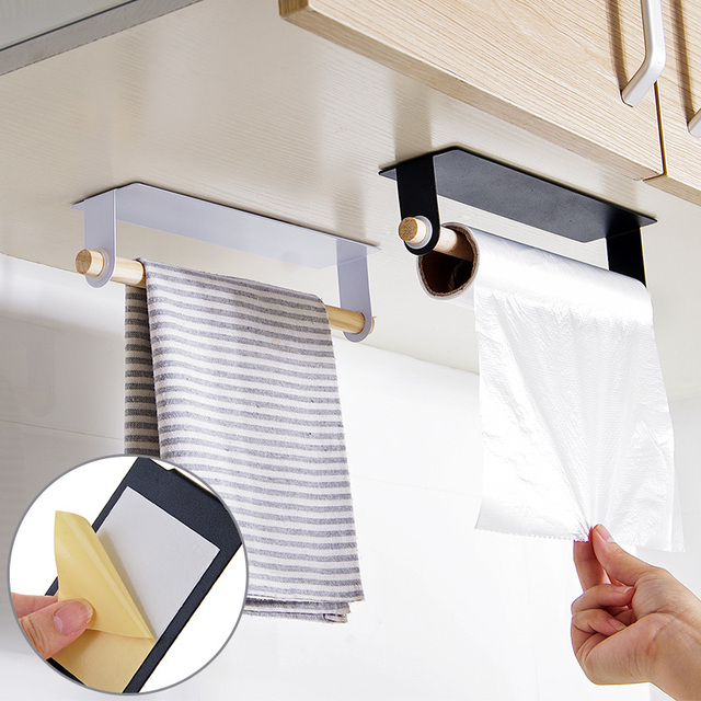 New Kitchen Towel Holder Bathroom Wood And Iron Storager Rack Cabinet Hanging Shelf Organizer Supplies