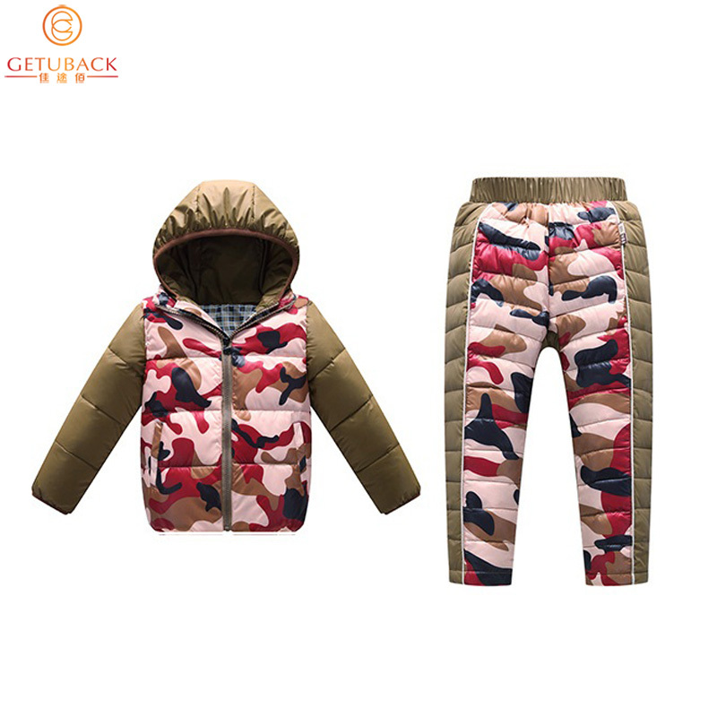 2017 Kids Down Jacket + Trousers for Winter Top Quality Boys & Girls Camouflage Thermal Clothing Suits Children Suits, HC4932017 Kids Down Jacket + Trousers for Winter Top Quality Boys & Girls Camouflage Thermal Clothing Suits Children Suits, HC493