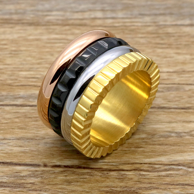 Fashion stainless steel gear ring ,women men mix four colors finger ...