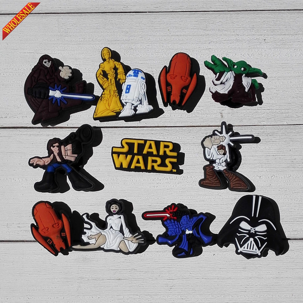 Novelty 11Pcs/lot Star Wars PVC Shoe Charms For Bands Croc JIBZ & Shoes With Holes,Shoe Accessories Kids Party Favors