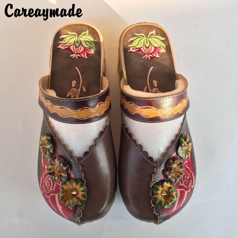 Careaymade folk style 헤드 레이어 소 가죽 순수한 수제 새겨진 신발, 레트로 아트 모리 걸 신발, 여성 캐주얼 Sandals1510 6-에서슬리퍼부터 신발 의  그룹 1