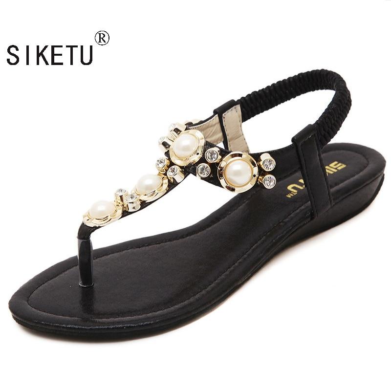 SIKETU 2017 New Korean Rhinestone Sandals Women Bohemian Beaded Large Size Shoes Woman Sandals Summer Shoes EU34-40