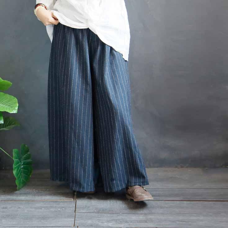 2019 Spring Women Cotton Linen Trousers Loose Female Striped   Pants   Retro Long Wide Leg   Pants